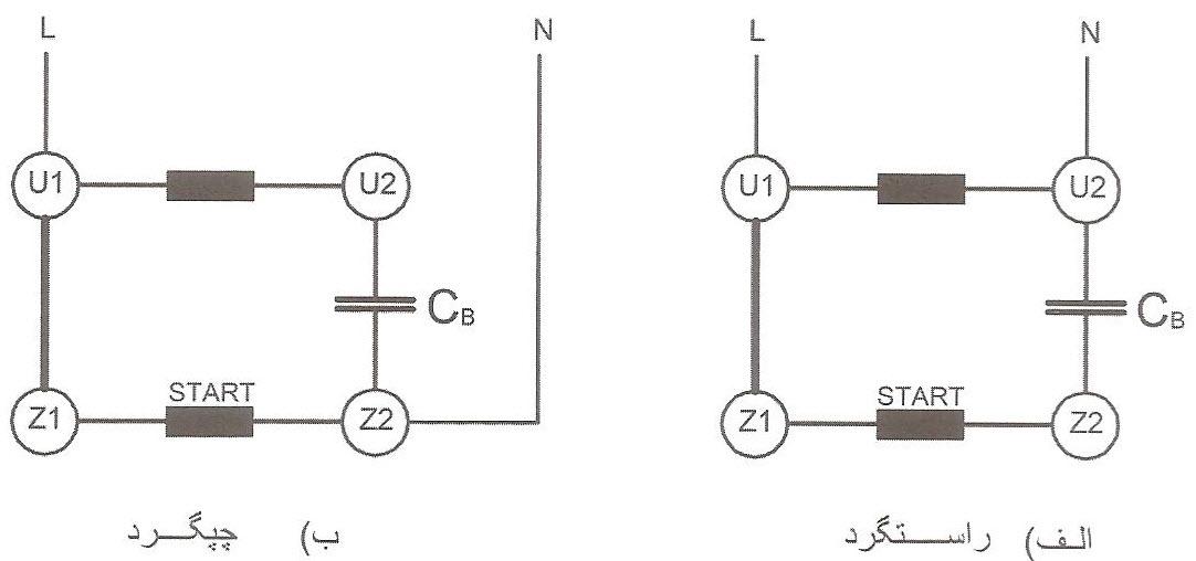 تخته کلم و طرز اتصال الکتروموتور تک فاز با راه انداز دائم در مدار