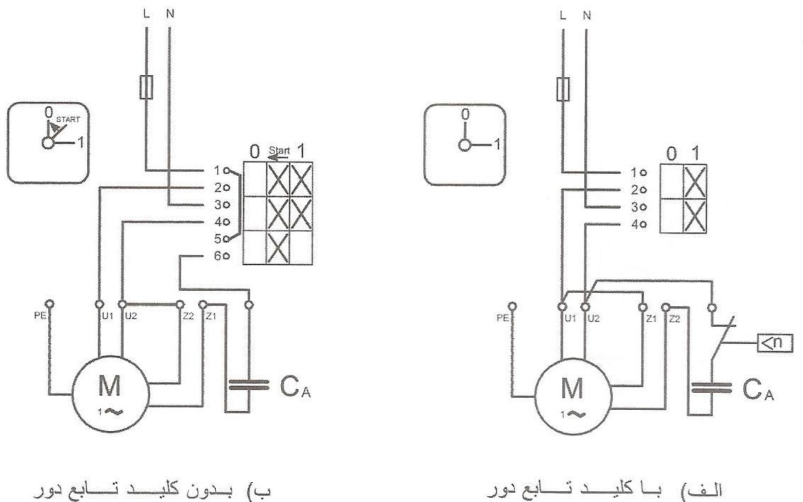 نقشه حقیقی راه اندازی الکتروموتور تک فاز موقت با کلید زبانه ای 1-0