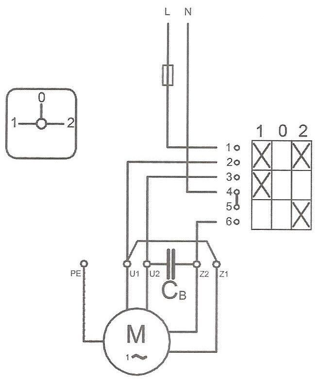 نقشه حقیقی کلید چپگرد و راستگرد برای الکتروموتور دائم در مدار