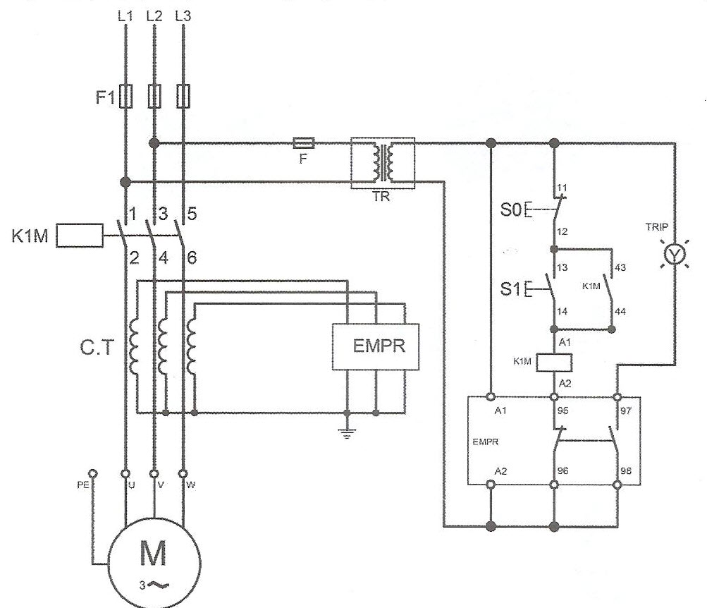 طرز اتصال مدار فرمان و قدرت رله با استفاده از مبدل جریان