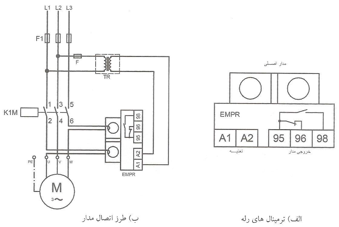 طرز اتصال مدار فرمان و قدرت رله با استفاده از دو مبدل جریان
