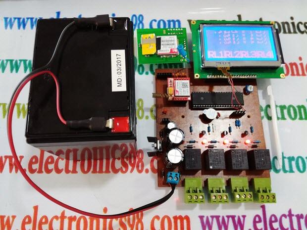 کنترل چهار وسیله برقی با صفحه نمایش لمسی و پیام کوتاه