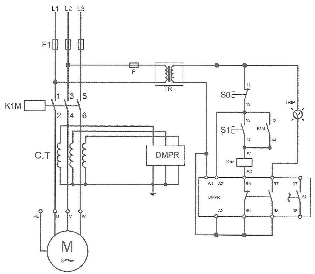 طرز اتصال رله دیجیتالی استاندارد به صورت غیر مستقیم با C.T