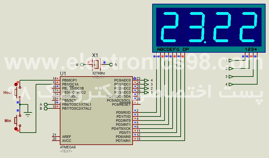 نمایش ساعت و دقیقه روی سون سگمنت با قابلیت تنظیم RTC