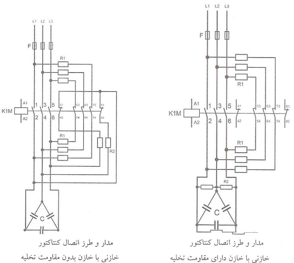 مدار و طرز اتصال کنتاکتور خازنی