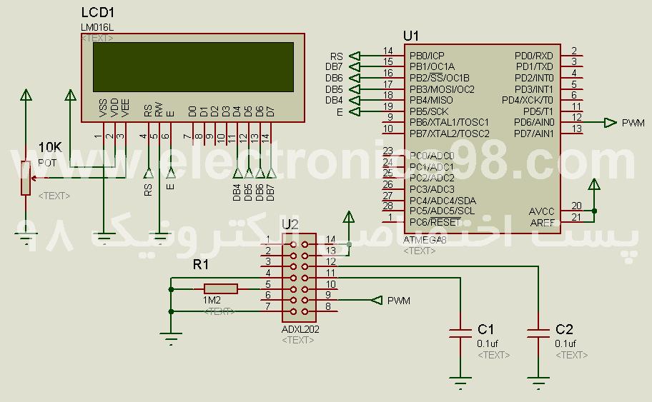 دانلود پروژه راه اندازی شتاب سنج ADXL202 با میکروکنترلر AVR