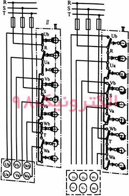 نمایی از طرز اتصال کلید زبانه ای برای دو سرعت مختلف(دالاندر)