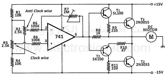 کنترل سرعت و جهت چرخش موتور DC با آپ امپ 741