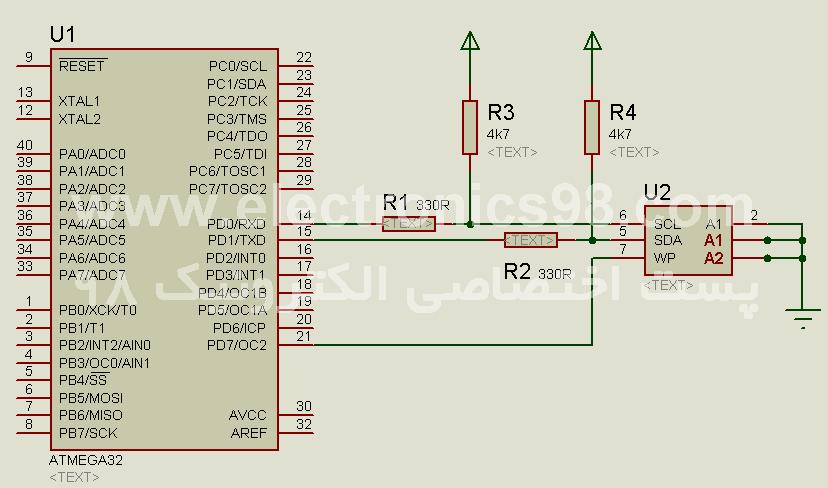 دانلود پروژه اتصال حافظه های جانبی EEPROM سریال به میکروکنترلر AVR