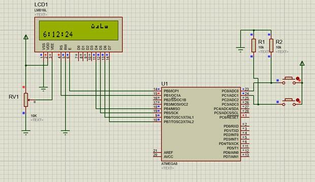 ساخت ساعت با میکروکنترلر AVR در نرم افزار شبیه ساز Proteus