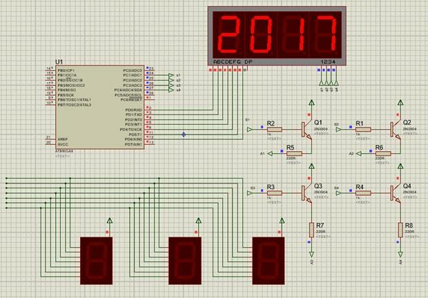 راه اندازی نمایشگرهای هفت قستمی با میکروکنترلر AVR در نرم افزار شبیه ساز Proteus