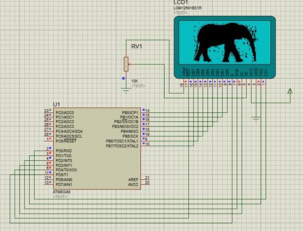 راه اندازی ال سی دی گرافیکی با میکروکنترلر AVR در نرم افزار شبیه ساز Proteus