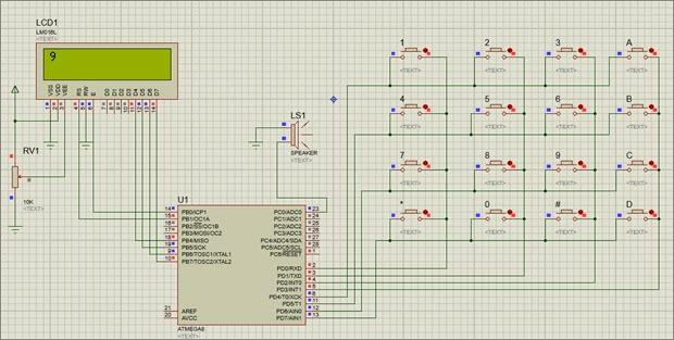 راه اندازی کی پد با میکروکنترلر AVR در نرم افزار شبیه ساز Proteus