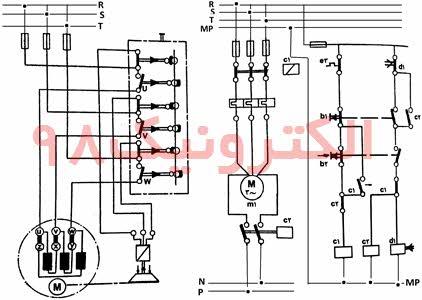 نمایی از طریقه اتصال ترمز الکترو مکانیکی در موتور آسنکرون