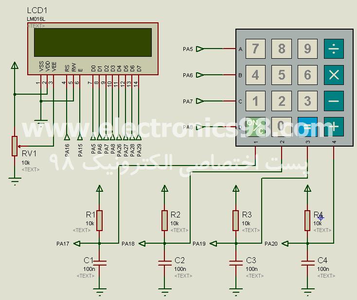 دانلود پروژه اتصال صفحه کلید 4*4 و LCD کارکتری به میکروکنترلر ARM
