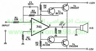 Making-12W-amplifier-with-Amp-Amp-741-s