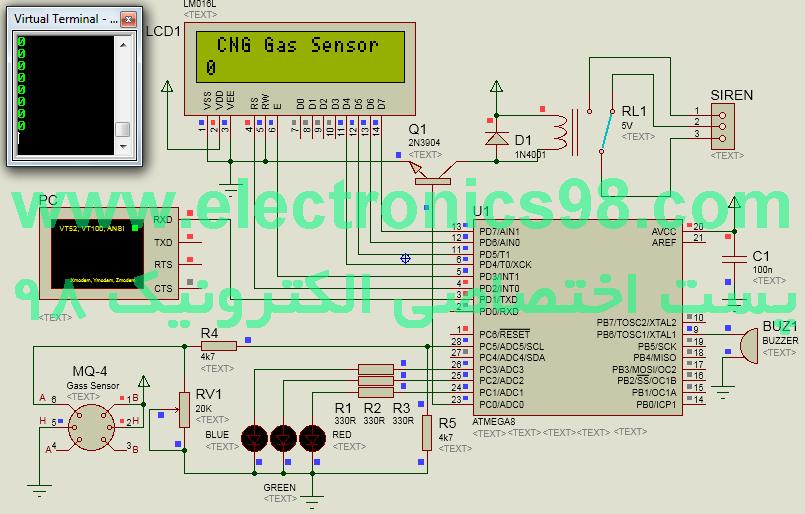 اندازه گیری و کنترل گاز CNG با سنسور گاز MQ-4
