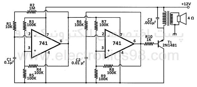 ساخت آژیر الکترونیک با آی سی آپ امپ 741