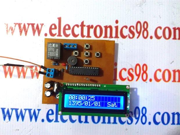 پروژه ساعت و تقویم با AVR و ال سی دی کاراکتری به زبان C