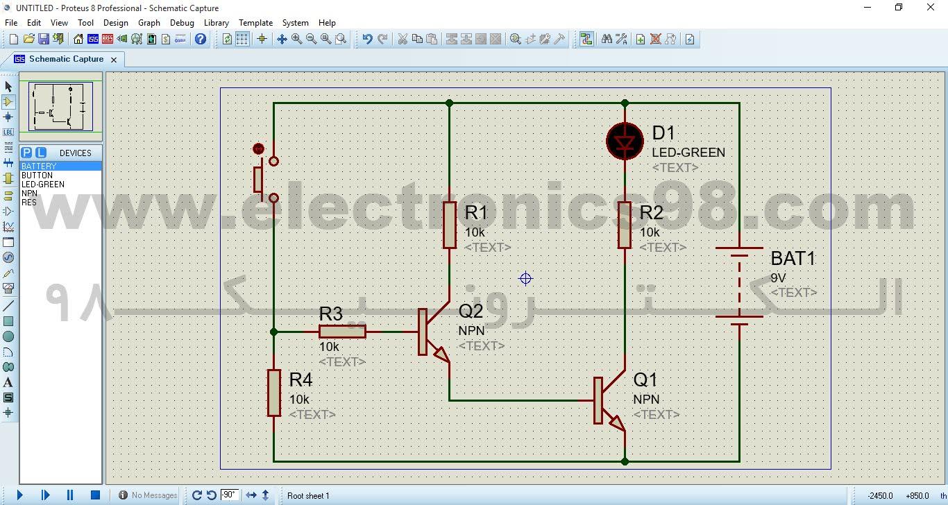 نمونه یک مدار الکترونیکی بسته شده در نرم افزار شبیه سازی Proteus
