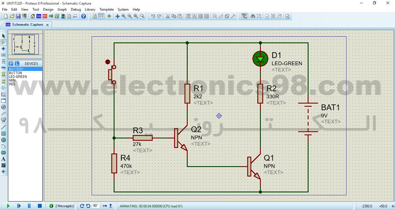 مدار تستر الکترونیکی که با نرم افزار Proteus شبیه سازی شده است