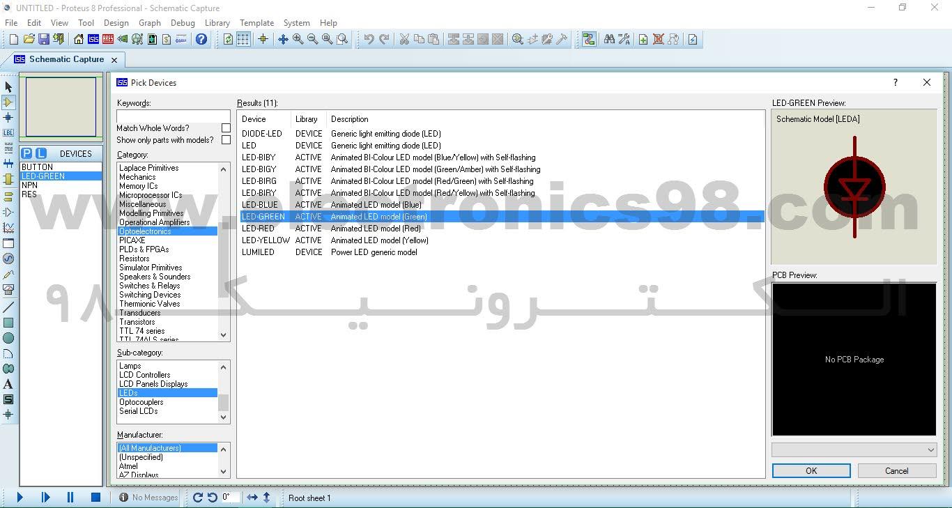 نحوه اضافه کردن LED در بخش شبیه سازی نرم افزار Proteus