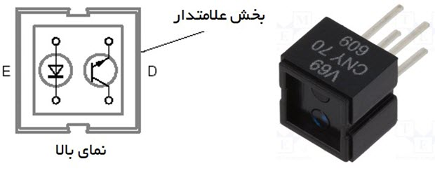 سنسور CNY70 جهت تشخیص خط سیاه در زمینه سفید و مصدومان