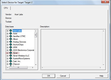 Select Device For Target Atmel