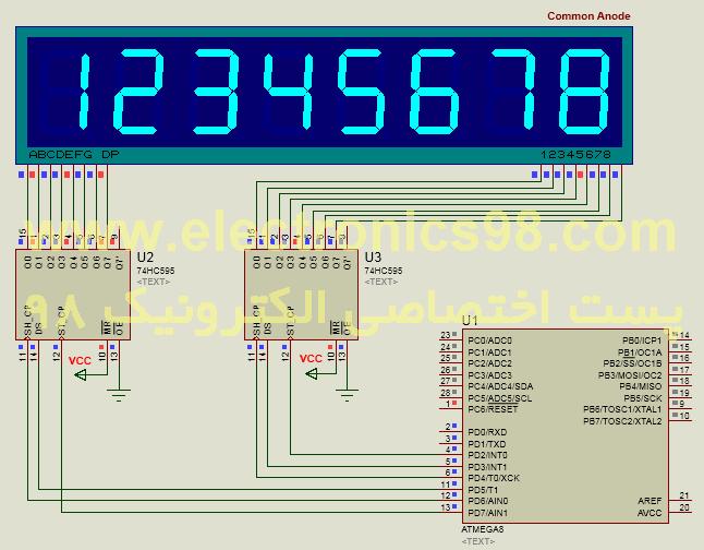 کنترل هشت سون سگمنت با میکروکنترلر AVR تنها با 6 پایه