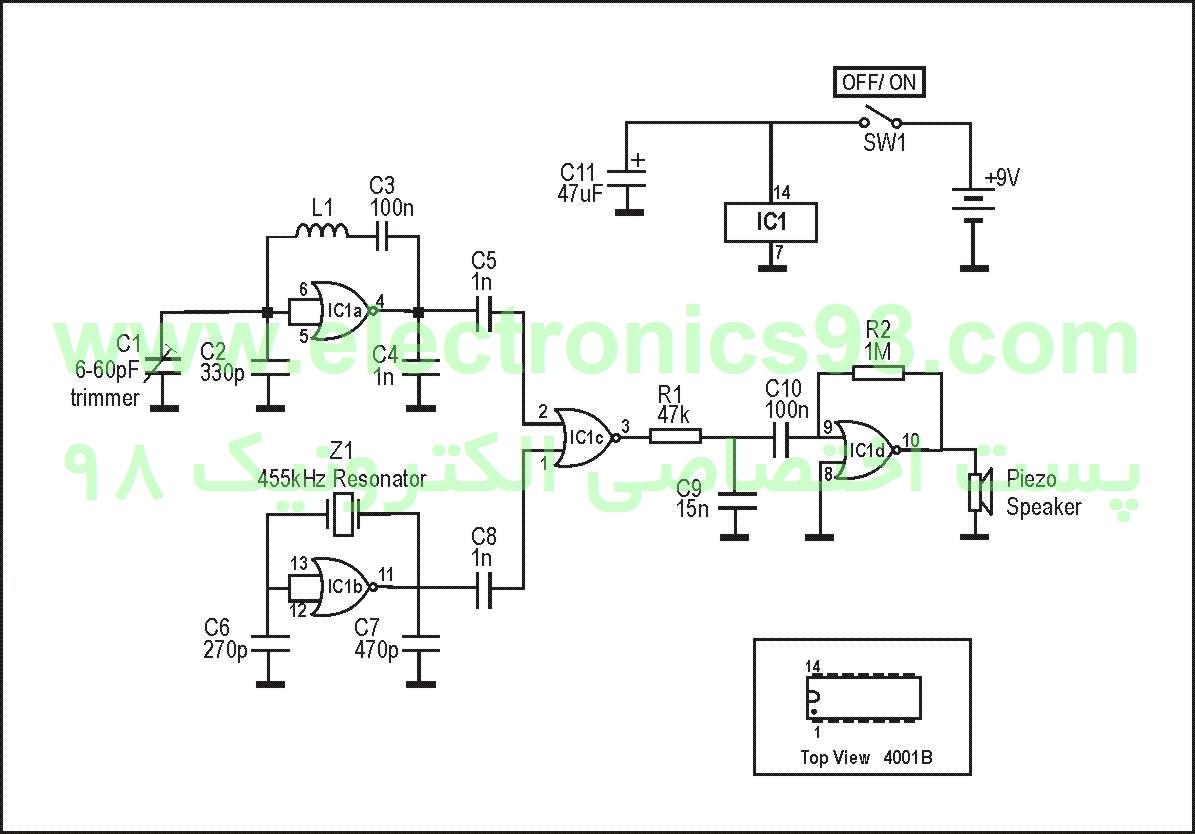 نقشه شماتیک مدار دستگاه فلزیاب جیبی ZL2PD
