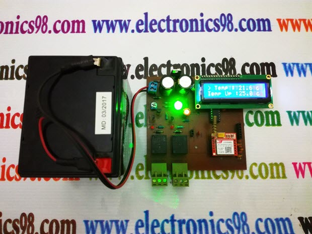 اندازه گیری و کنترل دمای محیط از راه دور توسط پیامک SMS