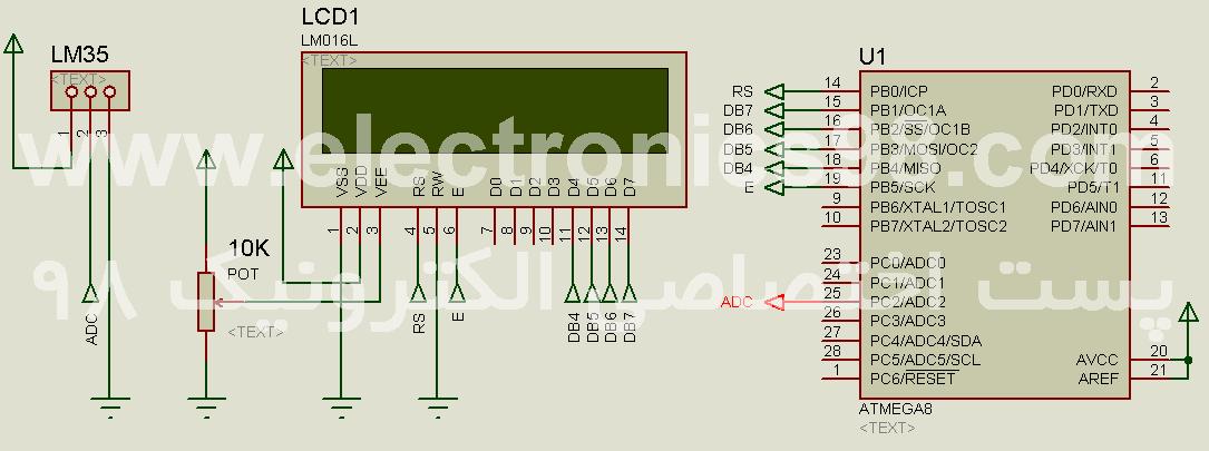 دانلود پروژه اندازه گیری دما با حسگر LM35 و میکروکنترلر AVR