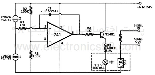 طراحی کلید و کنترل کننده لمسی با آپ امپ 741