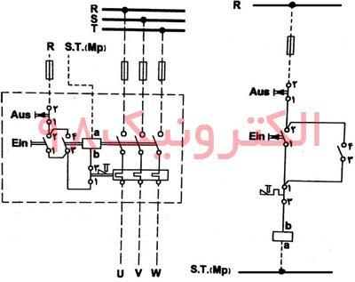 مدار الکتریکی کنتاکتور با رله حرارتی