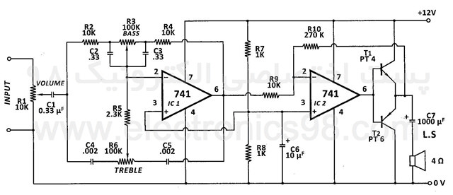 ساخت تقویت کننده صوتی 3W وات با آپ امپ 741