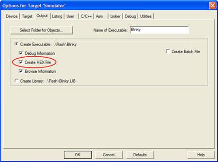 افزودن فایل هگز به خروجی فایل های پروژه نرم افزار Keil Uvision