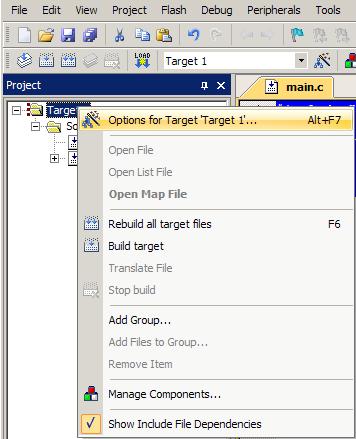 نحوه افزودن فایل هگز به خروجی نرم افزار Keil Uvision توسط منوی target options