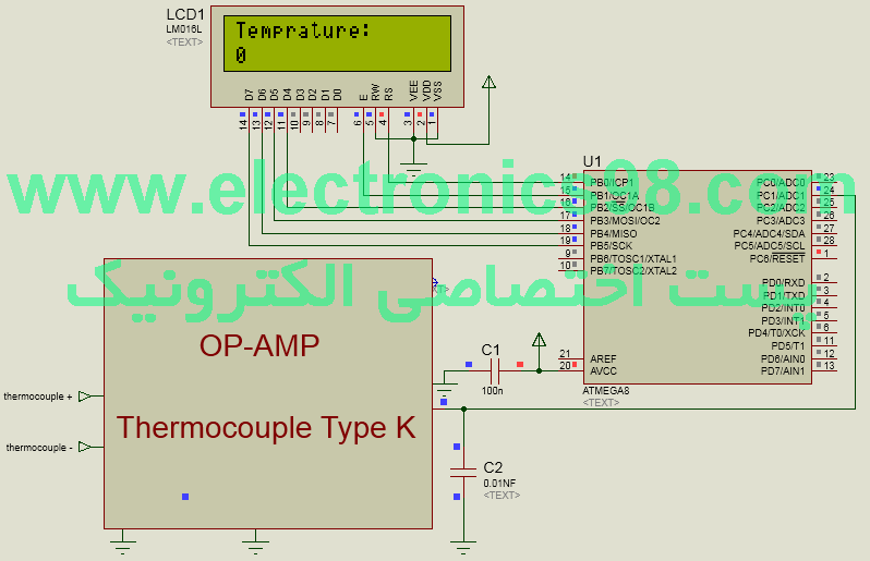 نحوه ساخت ترموکوپل نوع K و اتصال آن به میکروکنترلر AVR